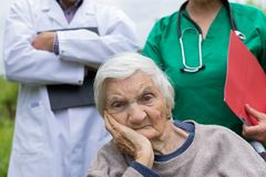 Portrait of elderly woman with dementia disease stock photos