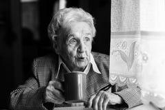 Portrait of an elderly woman drink tea near the window in house Stock Image