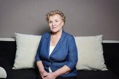 Portrait of an elderly woman. In the jacket Stock Photo