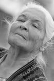 Portrait of the elderly woman. Monochrome Royalty Free Stock Photo