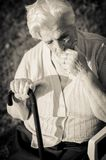 Portrait of the elderly woman. Outdoors Stock Photo