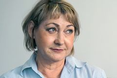 Portrait of an elderly woman. stock image