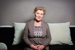 Portrait of an elderly woman. An elderly woman is sad Stock Photography