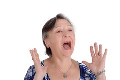 Portrait of elderly woman screaming with her hands on face. Isolated white background Royalty Free Stock Photos