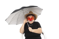 Portrait of the elderly woman with an umbrella Stock Image