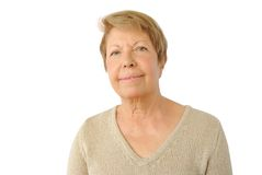 Portrait of elderly woman on the white royalty free stock images