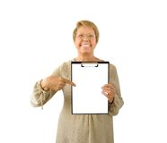 Portrait of elderly woman on the white Stock Photo