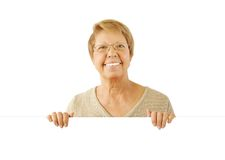 Portrait of elderly woman on the white Royalty Free Stock Photos