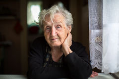Portrait of an elderly woman. Portrait of an elderly woman, 80-85 years Royalty Free Stock Photography