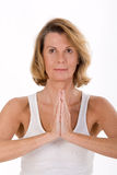Portrait of an elderly woman in yoga Royalty Free Stock Photos