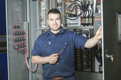 Portrait of an electrician in a room Stock Photography