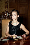 Portrait of elegance attractive woman, count money Stock Images