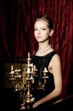 Portrait of elegance attractive woman, retro style Stock Photos