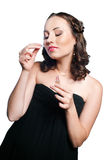 Portrait of elegance young woman with perfume Royalty Free Stock Image