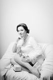 Portrait of elegant beautiful young lady in white Royalty Free Stock Photography