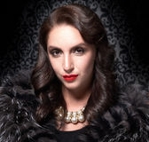 Portrait of elegant brunette retro woman wearing silver fox fur over vintage background Royalty Free Stock Photography