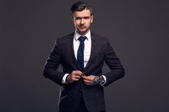Portrait of elegant brutal man in a wool suit Royalty Free Stock Photo