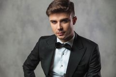 Portrait of elegant businessman in black tuxedo and black bowtie Stock Photo