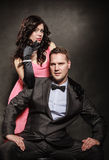 Portrait of elegant couple in tender passion. Royalty Free Stock Photos