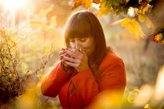 Portrait of elegant cute woman drinking tea at cold autumn day Stock Photography