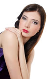 Portrait of the beautiful elegant girl with an evening make-up Stock Images
