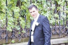 Portrait of elegant groom outdoor Stock Images