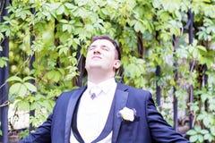 Portrait of elegant groom outdoor Stock Photography