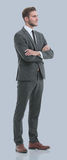 Portrait of a elegant handsome business man on gray background. Royalty Free Stock Image