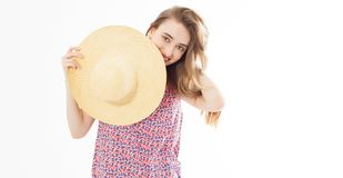 Portrait of elegant lady with hat on summer vacation, summer smiling woman in studio portrait copy space.  stock photos