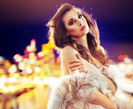 Portrait of an elegant lady wearing fur coat Stock Photography