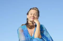 Portrait elegant mature woman  sky Royalty Free Stock Images