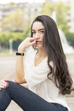 Portrait of elegant sensual brunette woman, outdoor. Portrait of sensual beautiful brunette woman Stock Images