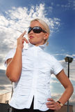 Portrait of elegant smoking businesswoman Stock Photography
