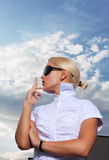 Portrait of elegant smoking businesswoman Royalty Free Stock Photo
