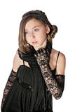 Young lady in black lacy gloves Stock Image