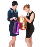 Portrait of elegant two women with shopping bags Royalty Free Stock Photo