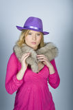 Portrait of elegant woman with fur and hat Stock Image