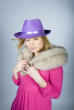 Portrait of elegant woman with fur and hat Royalty Free Stock Photography