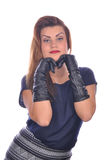 Portrait of elegant woman with gloves on her hands Stock Images