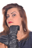 Portrait of elegant woman with gloves on her hands Royalty Free Stock Photography