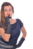 Portrait of elegant woman with gloves on her hands Royalty Free Stock Photos