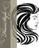 Portrait of elegant woman. Hairstyle banner Royalty Free Stock Photo