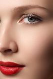 Portrait of elegant woman with red lips. Beautiful young model w Stock Photos
