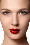 Portrait of elegant woman with red lips. Beautiful young model w Royalty Free Stock Image