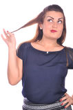 Portrait of elegant woman touchin her hair Stock Photo