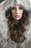 Portrait of an elegant woman wearing fur coat Stock Photography
