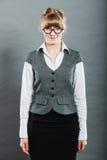 Portrait of elegant young businesswoman secretary. royalty free stock photos