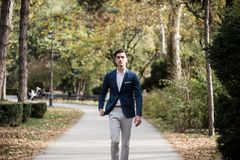Elegant young man walking in the park. Portrait of an elegant young man walking outdoors in the park Royalty Free Stock Image