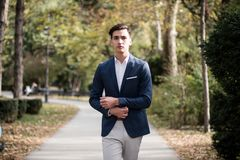 Elegant young man walking in the park. Portrait of an elegant young man walking outdoors in the park Royalty Free Stock Images