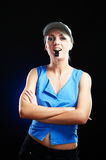 Portrait of an elegant young sporty woman beauty Royalty Free Stock Photos